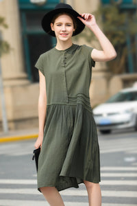 Woman Summer Short Sleeve Loose Dress-Green