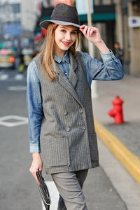 Woman Spring Stripes Vest with Four Buttons - Gray