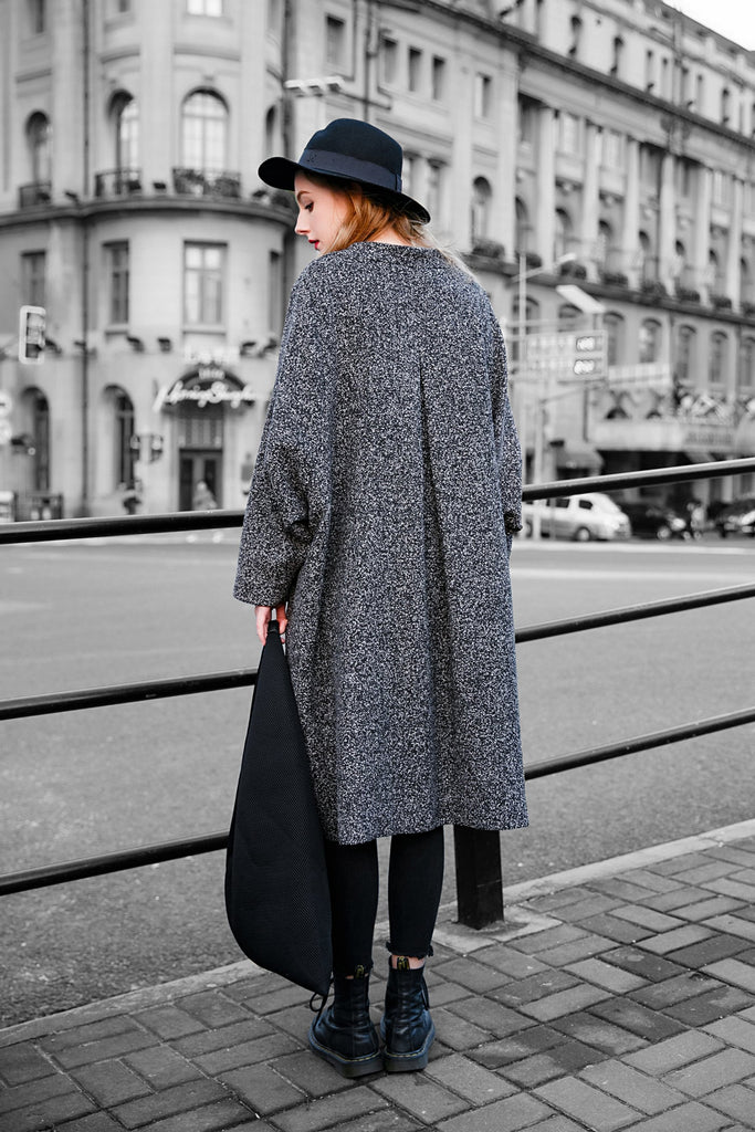 Woman Spring Cotton Long  Coat - Gray
