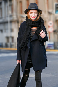 Woman Winter Long Coat with Lapel Collar - Navy