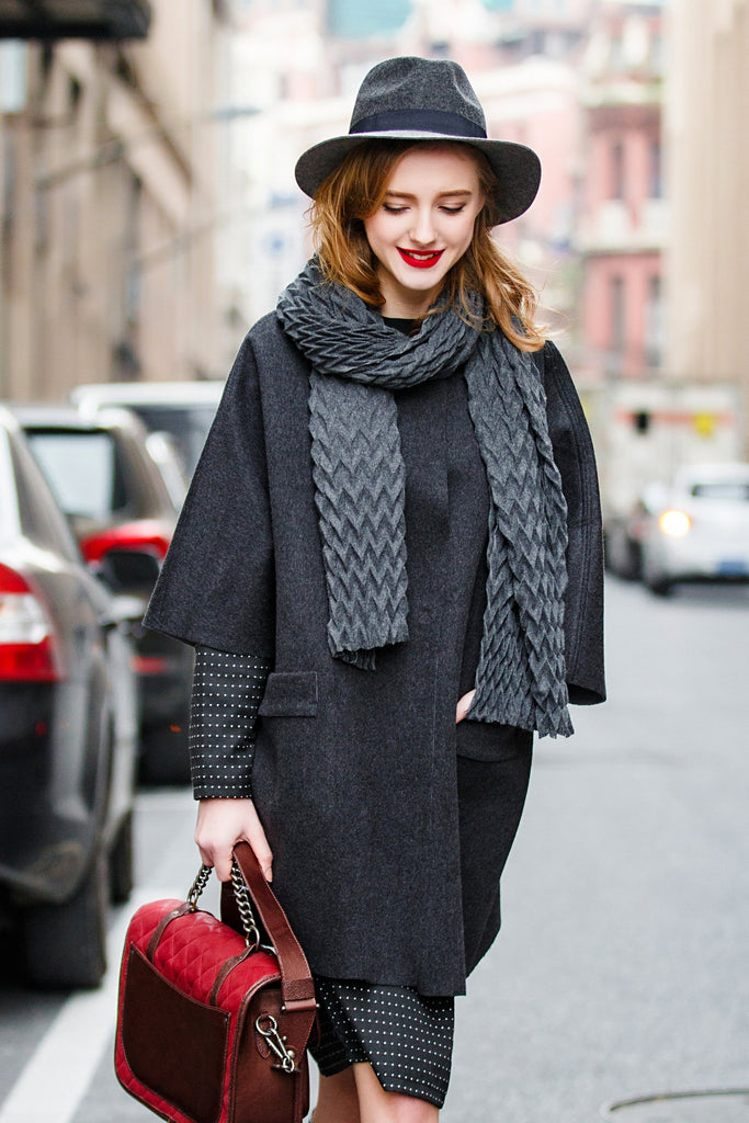Woman Autumn Winter Elegant Wool Coat With Patched Pockets - Gray