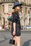 Woman Summer Striped Blouse with Collar-Black