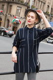 Woman Summer Striped Blouse with Collar-Navy Blue