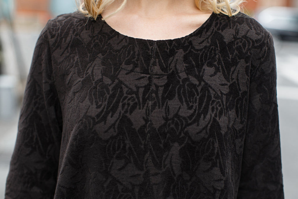 Woman Summer Long Sleeve Floral-Print Blouse -Black