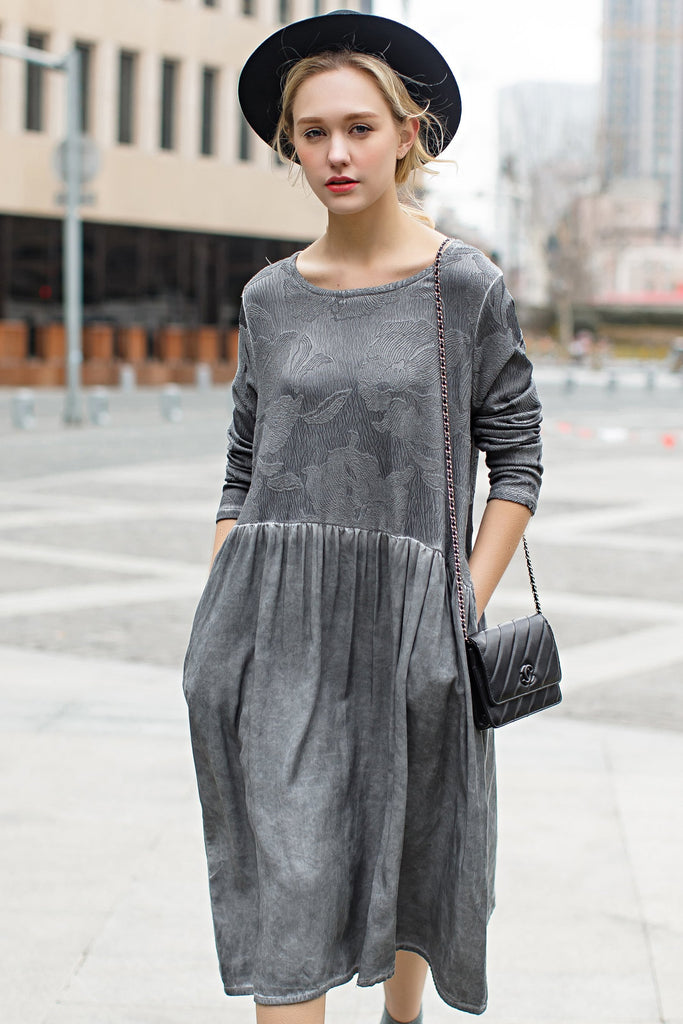 Woman Summer Long Sleeve Floral-Print Blouse -Gray