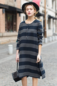 Woman Summer Casual Long Sleeve Button Dress-Navy Blue