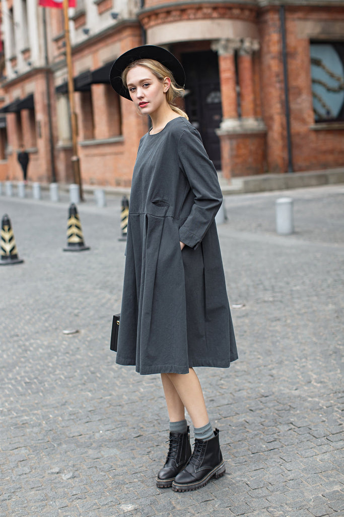 Woman Fall Cotton Long Dress with Long Sleeve - Gray