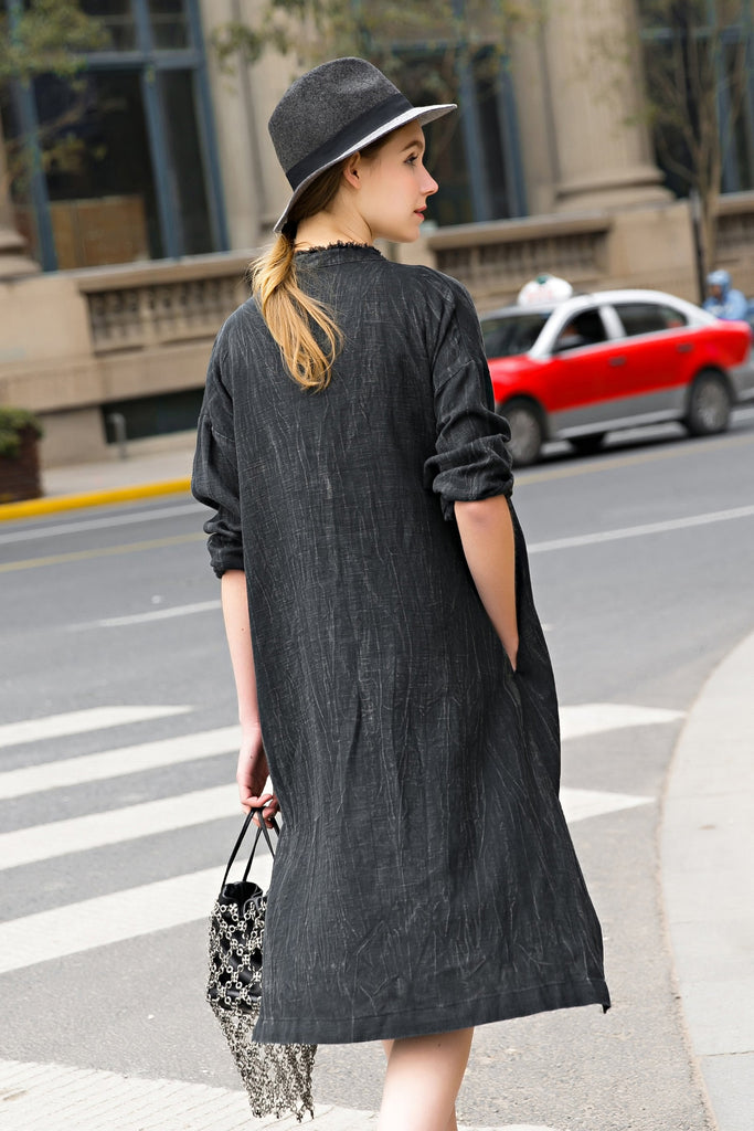 Woman Summer Casual Long Sleeve V-Neck Dress-Black