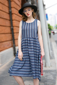 Woman Summer Casual Sleeveless Pockets Striped Dress-Blue