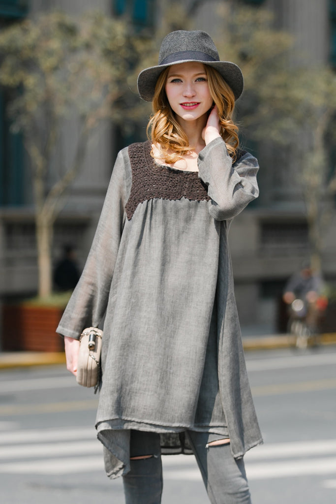 Woman Summer Loose Long Sleeve Dress-Gray