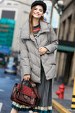 Women's Winter Short Puffer Coat with Neckwarmer - Gray