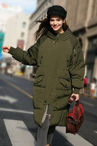 Women's Hooded Puffer Coat - Green