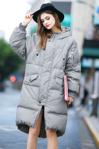 Women's Hooded Puffer Coat - Gray