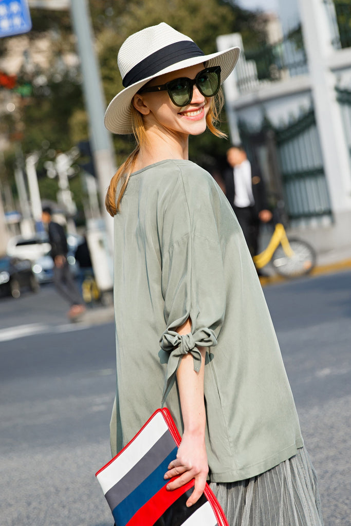 Woman Spring Loose Top Cuff Bow V-Neck Shirt- Green