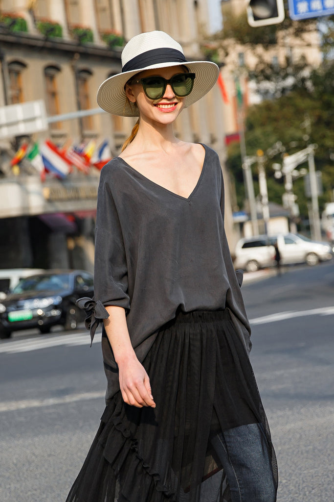 Woman Spring Loose Top Cuff Bow V-Neck Shirt- Gray