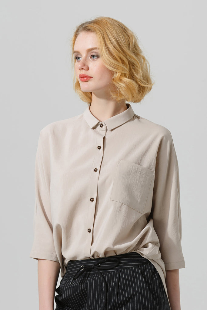 Woman Summer Casual Button Down Shirt with Collar-Beige