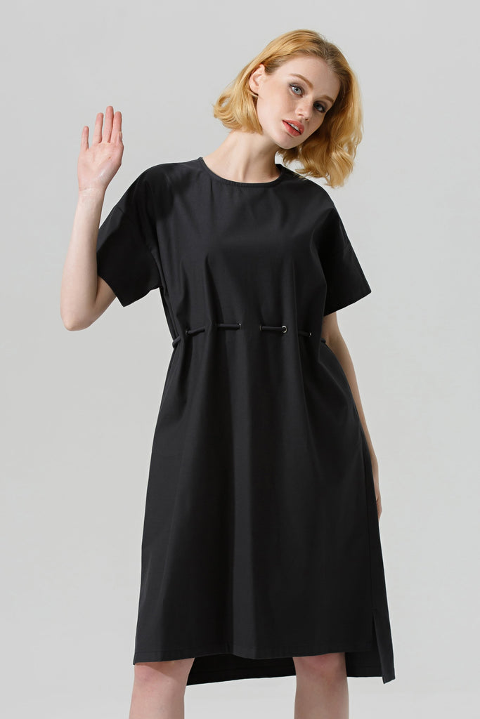 Woman Spring Cotton Knee-Length Dress-Black
