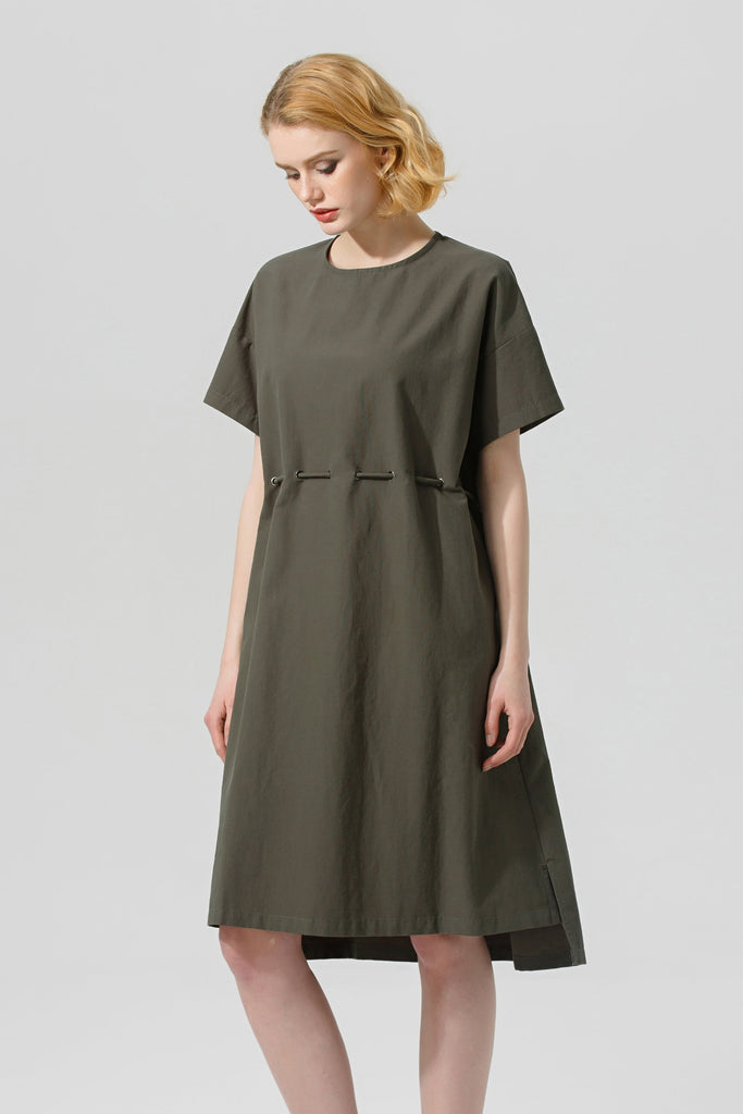 Woman Spring Cotton Knee-length Dress-Green