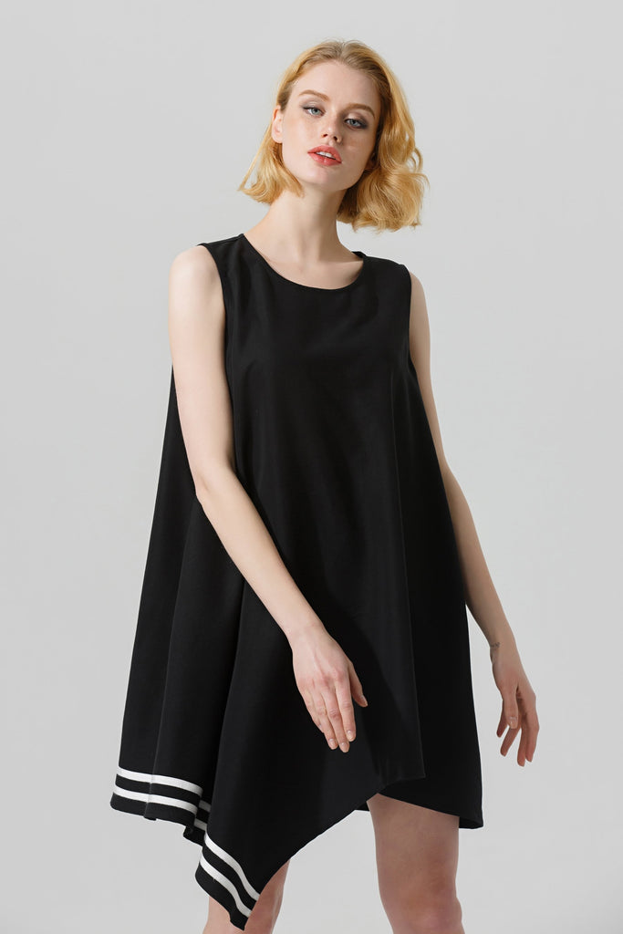 Woman Spring Knee-length Sleeveless Dress-Black