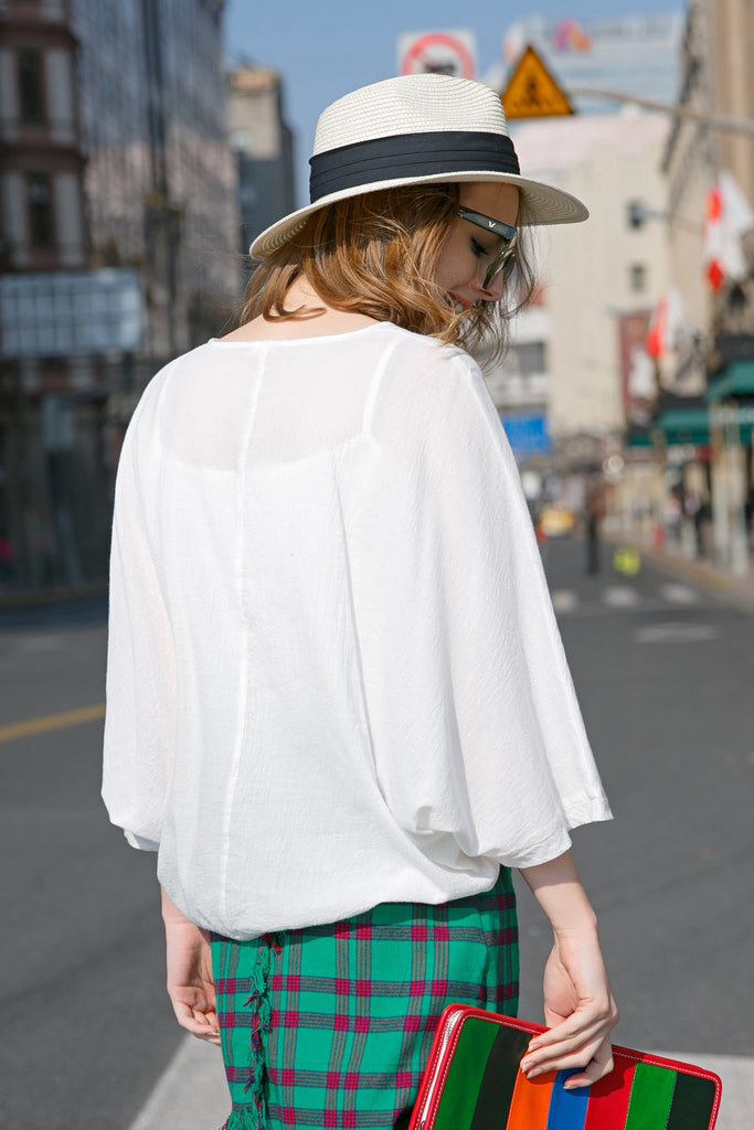 Woman Spring Cotton Bat Sleeve Shirt-White