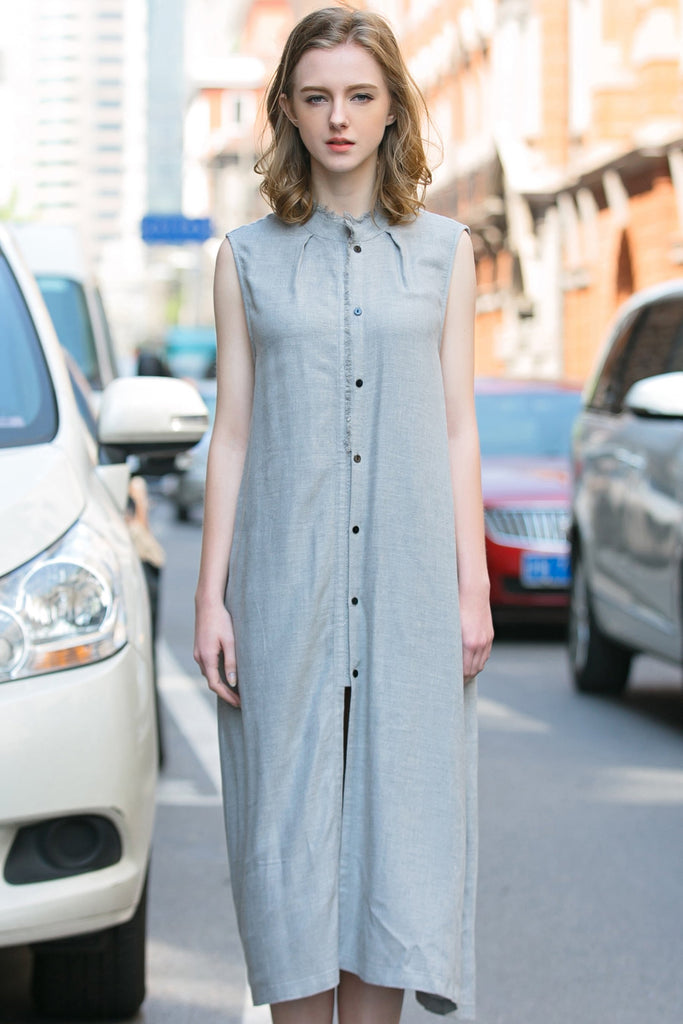 Woman Summer Long Casual Waistcoat Dress - Light Gray