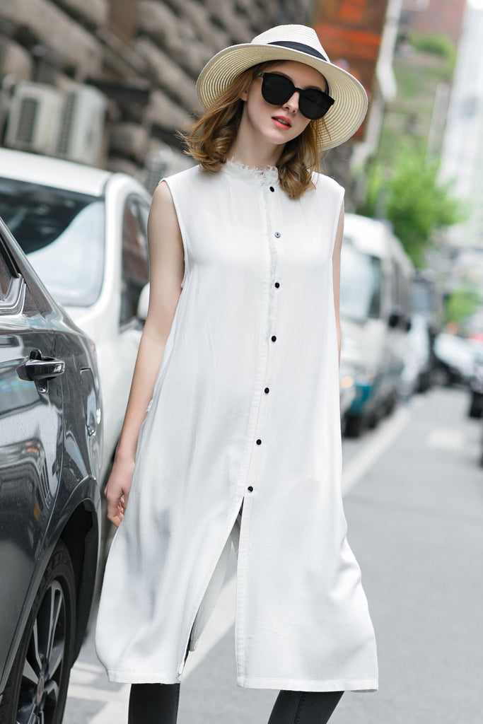 Woman Summer Long Casual Waistcoat Dress- White