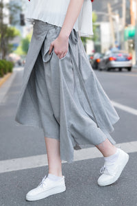 Woman Spring Skirt with Asymmetric Hem-Light Gray