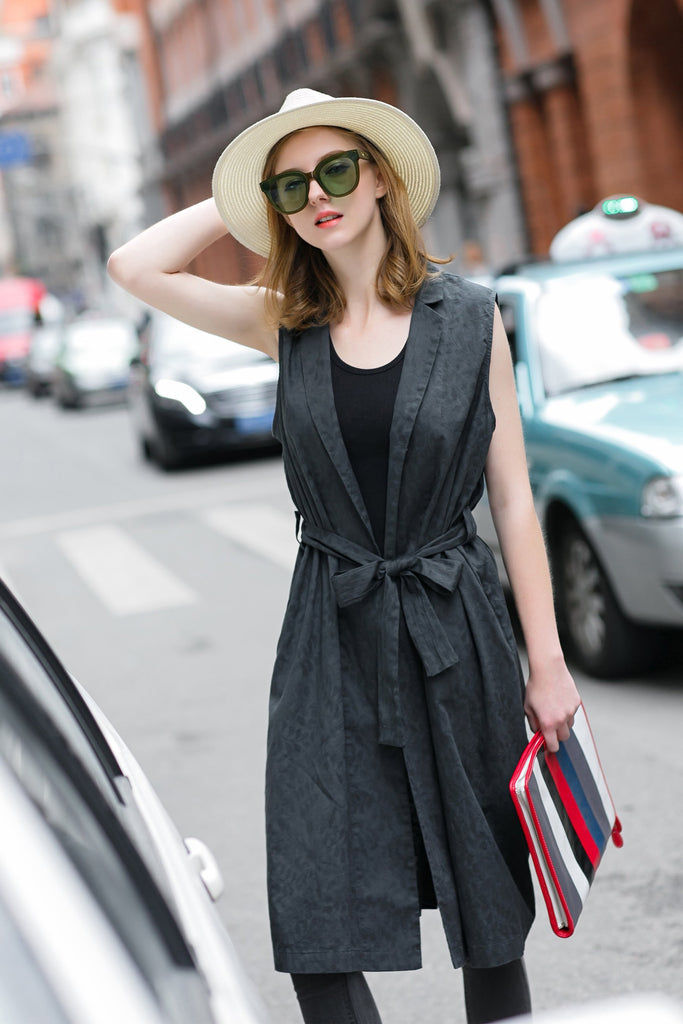 Woman Spring Cotton Sleeveless Long Vest with Belt-Black