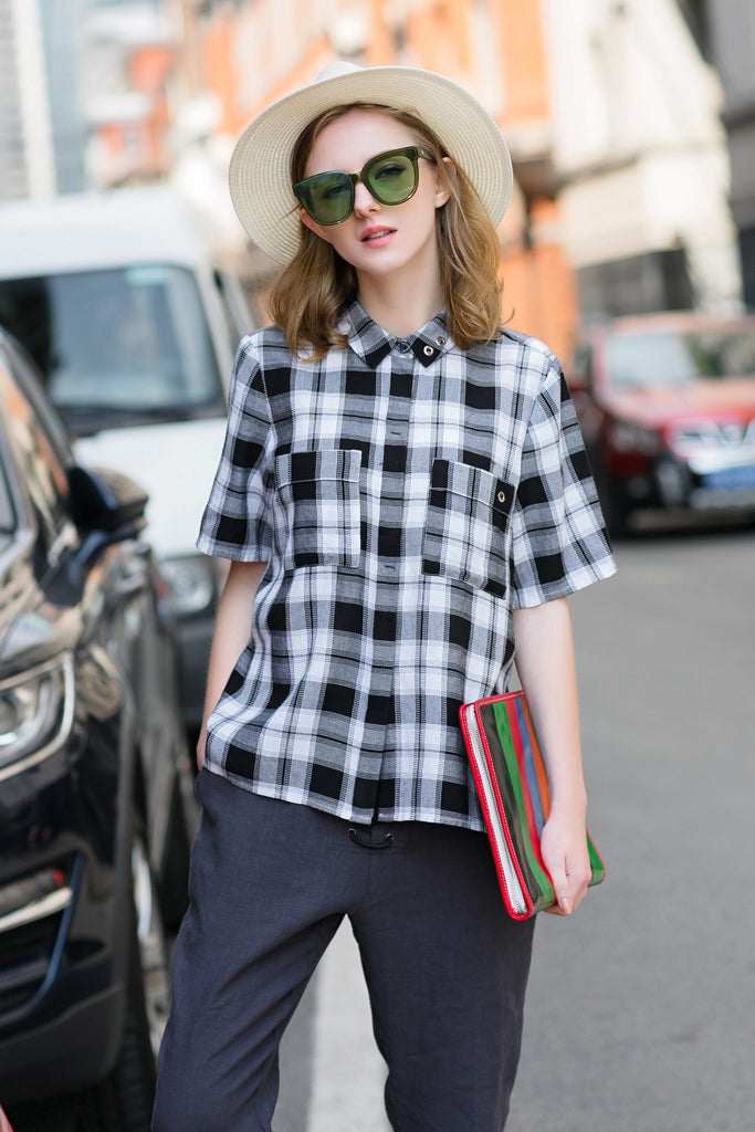 Woman Spring Cotton Short Tartan Plaid Shirt with Pocket-Black