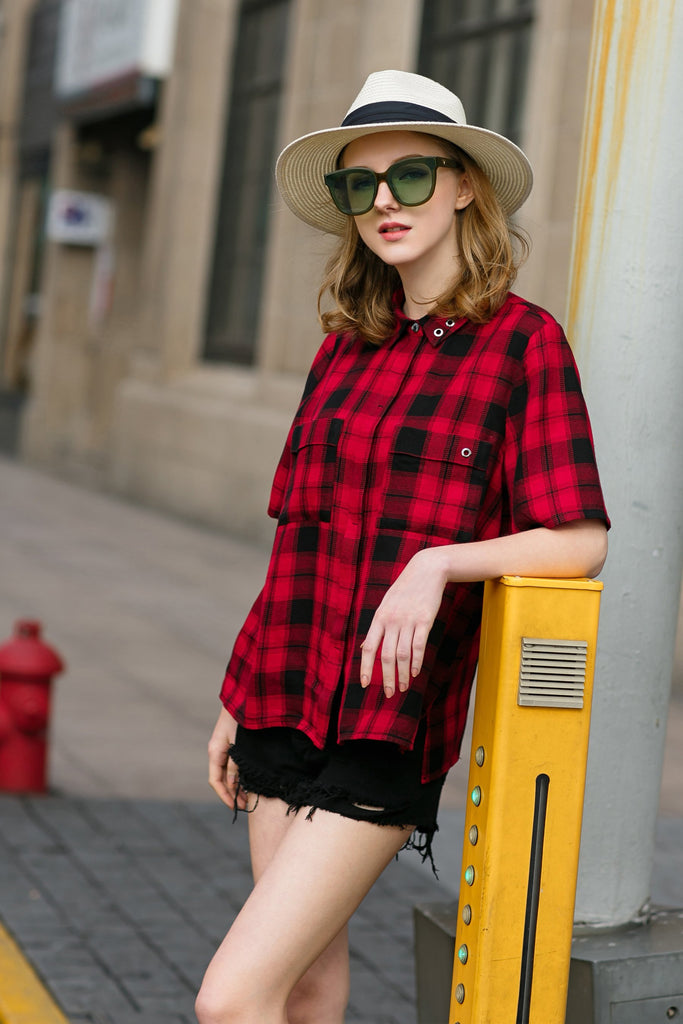 Woman Spring Cotton Short Tartan Plaid Shirt with Pocket-Red