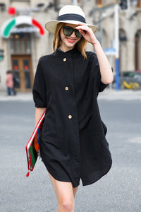 Woman Spring Long Sleeve Cotton with Buttoned Dress-Black