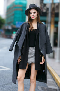 Woman Fall Wool Long Coat - Navy Blue