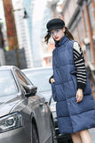 Woman Winter Thick Long Vest with Large Pocket- Deep Blue