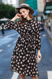 Woman Summer Floral-Print Long Sleeve Dress - Black