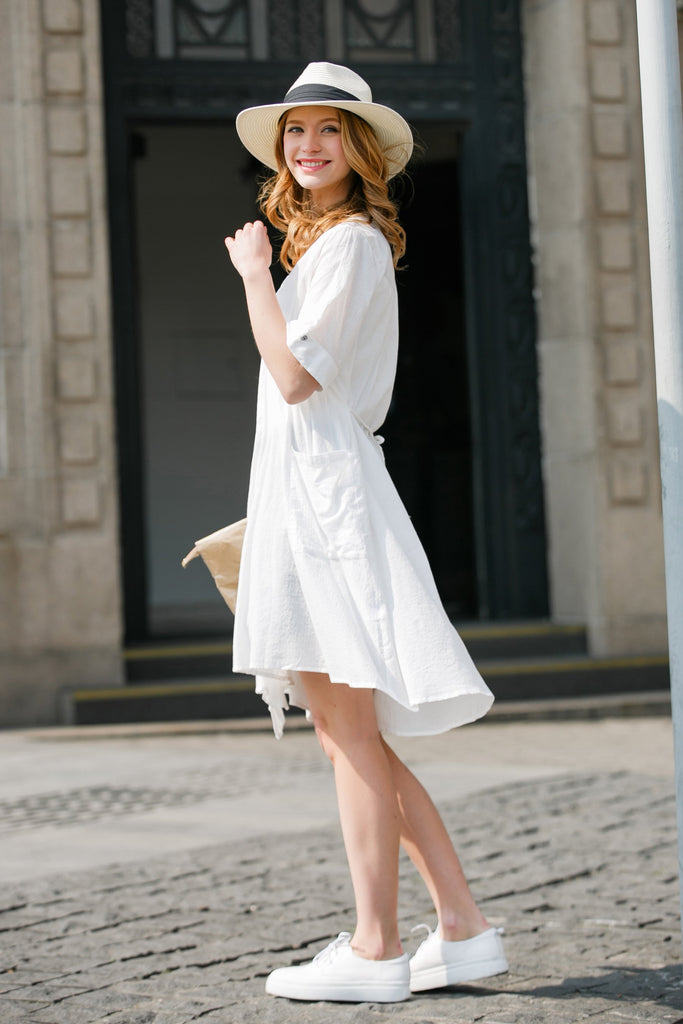 Woman Spring Cotton Long Blouse with Belt-White