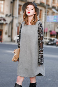 Woman Fall Cotton Long Dress - Gray