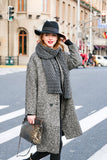 Woman Fall Thin Collar with Four Buttons Long Coat-Gray