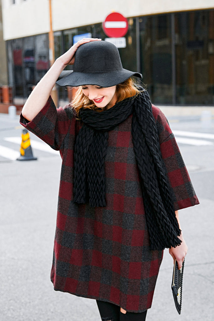 Woman Fall Wool Medium length Plaid Coat - Red