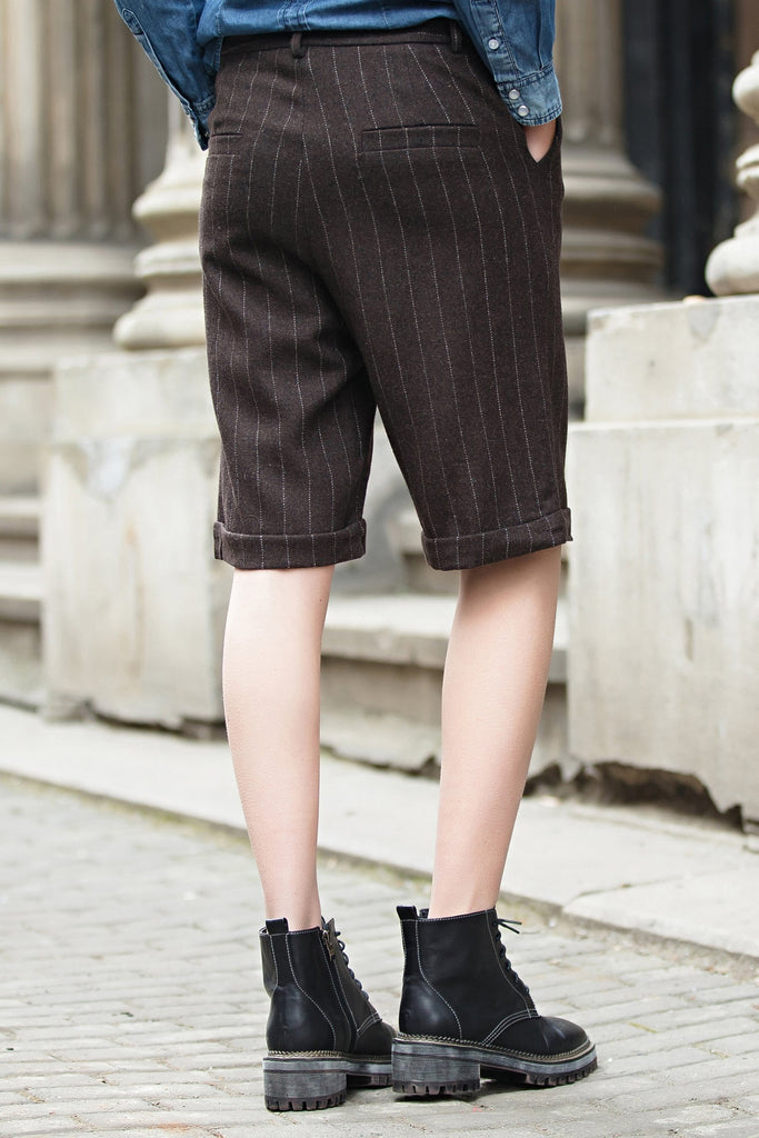 Woman Spring Casual Knee-length Stripes Pants-Brown