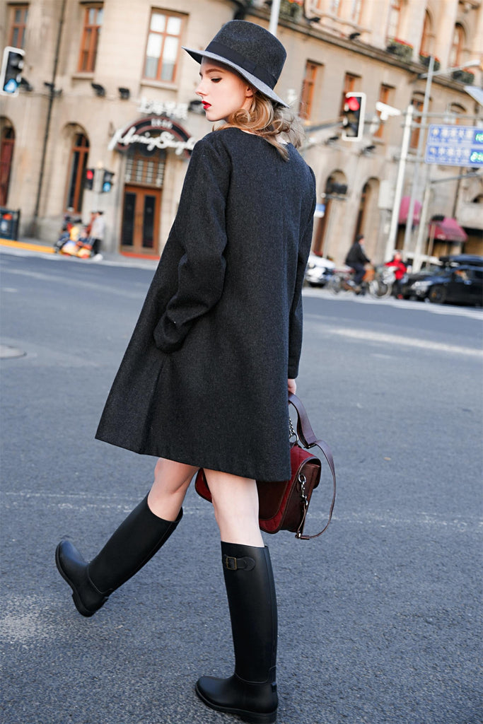 Woman Fall Wool Medium Length Loose Coat - Black