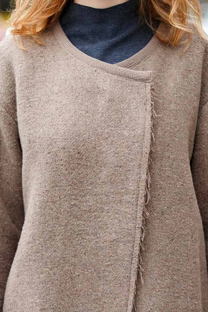 Woman Winter Wool Long Coat - Beige
