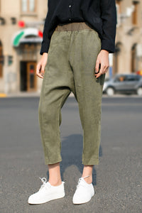 Woman Spring Flax Wide Leg Pants-Black