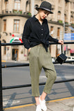 Woman Spring Pull-on Pants with Wide Waistband-Olive