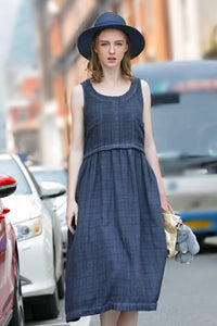 Woman Summer Long Cotton Sleeveless Pockets Dress  -Blue