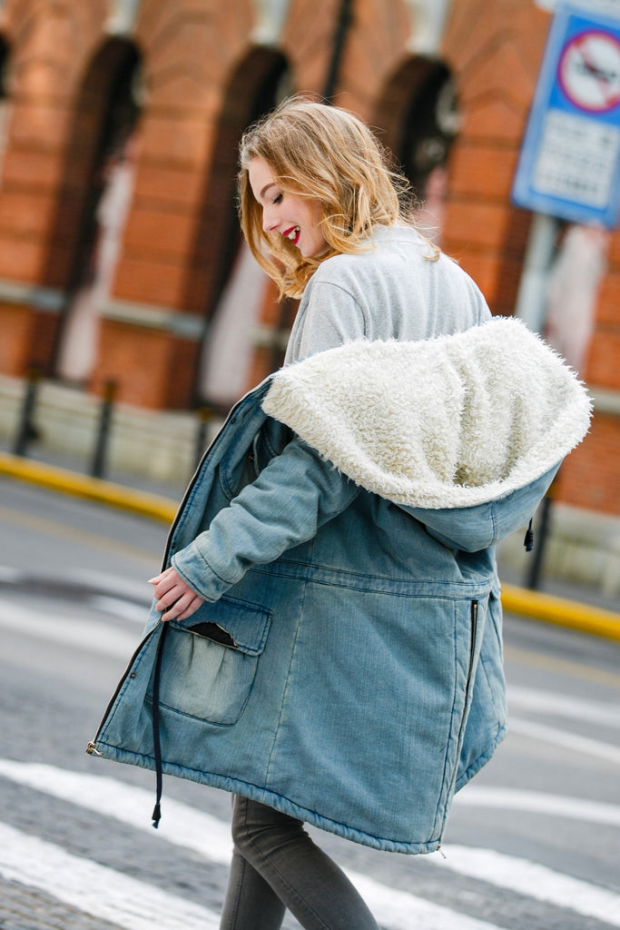 Woman Winter Quilted Denim Parka -Light Blue