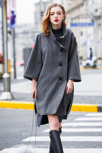 Woman Fall Wool Botton Long Coat-Deep Gray