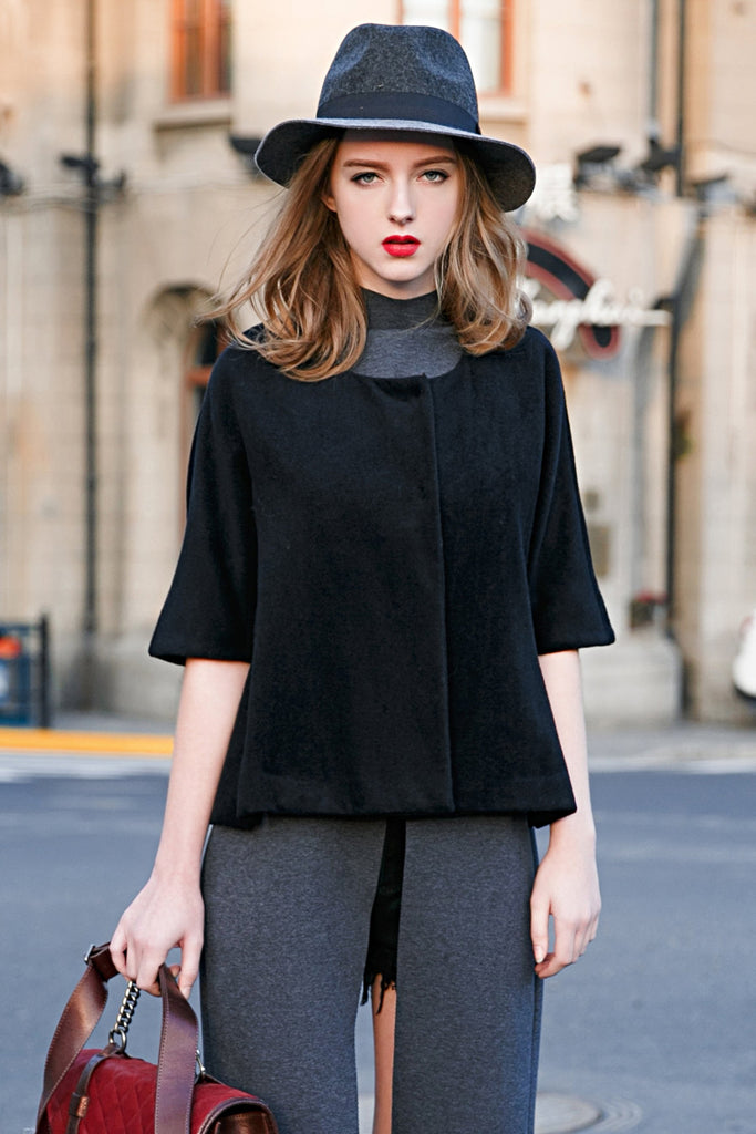Woman Fall Wool Short Sleeve Jacket - Navy Blue