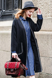 Woman Winter Long Coat with Squared Pocket - Dark Gray