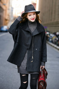 Woman Wool Blend Jacket - Black