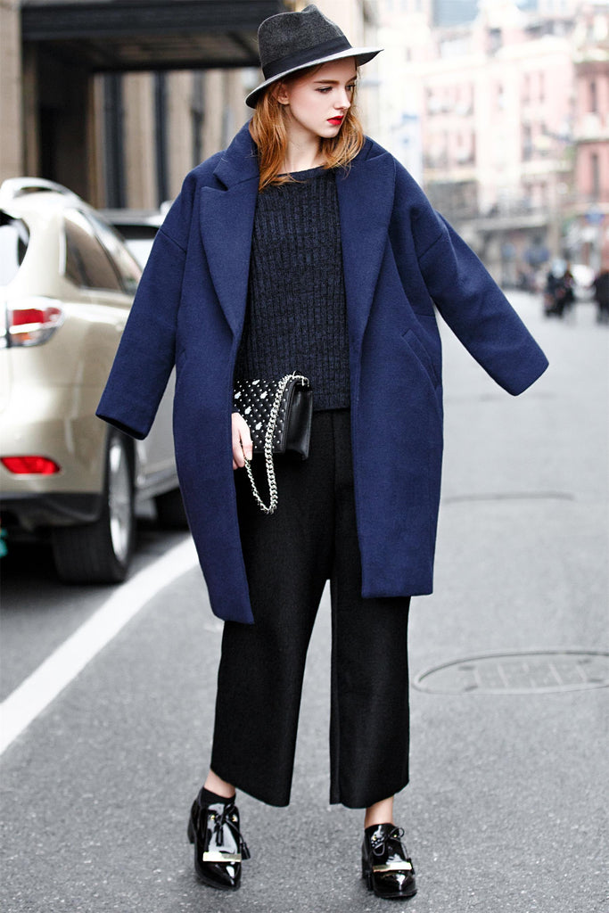 Woman Fall Wool Long Casual Coat  -Navy Blue